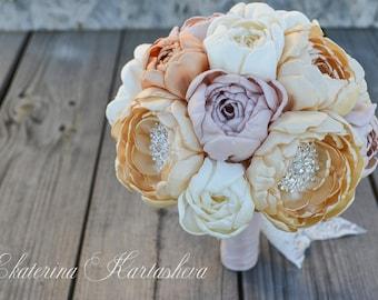 Wedding brooch bouquet , peonies , gold and beige