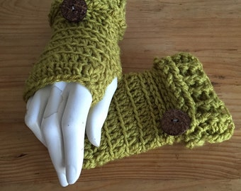 Avocado Green Fingerless Crocheted Gloves