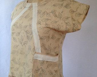 1980s cotton print drop waisted dress