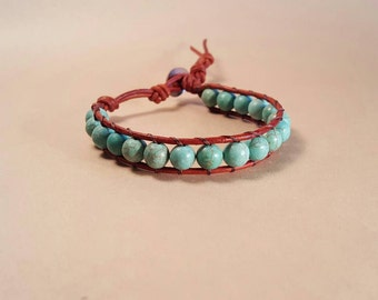 Turqouise howlite beaded leather bracelet