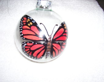 Hand painted glass bulb butterfly 3 3/4