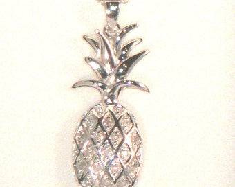Sterling Silver Pineapple Pendant/Necklace- Symbol of Warmth & Welcome
