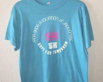 1980's Spina Bifida 5K Run Jacksonville Florida Hope for Tomorrow 50 50 Screen Stars T Shirt