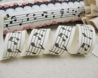 "3 x Metres Japanese Linen Ribbon Trim Zakka Music Notes 7/8"" width"