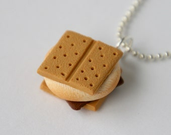 S'mores with Toasted Marshmallow Necklace - Polymer Clay Miniature Food Jewelry