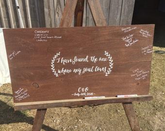 Wood Wedding Guestbook - Custom Wedding Guestbook - Rustic Bride - Rustic Wedding - Hand Painted