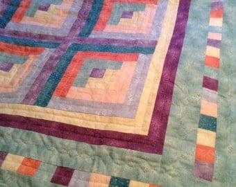 Handmade quilt -Pastel colored log cabin style quilt 76x76""