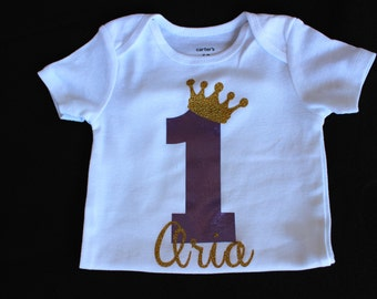 First Birthday Bodysuit, First Birthday Shirt, Custom Birthday Shirt, 1 with Crown, Personalized Shirt