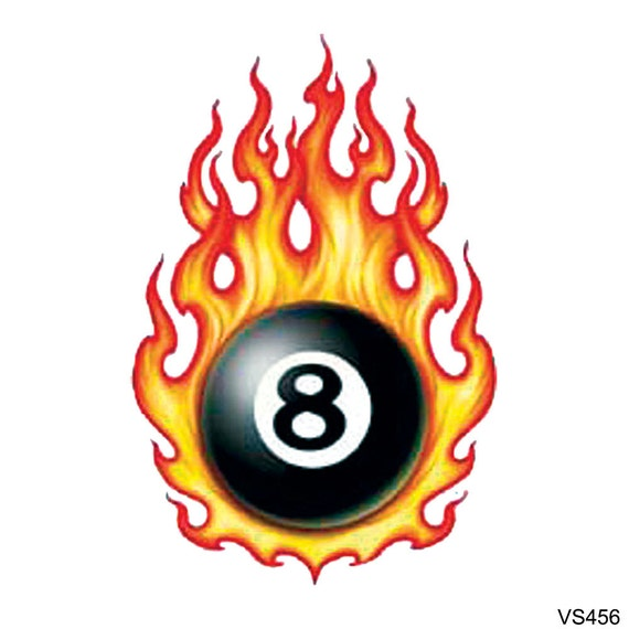 Specialbuy 1 get 1 free flaming 8 ball by tattoogirlsrule for Eight ball tattoo removal
