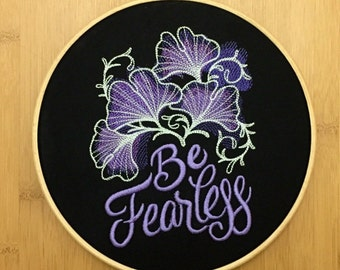 Be fearless embroidery hoop art gift tattoo gothic black purple floral home decor nursery teenager modern framed embroidered sign motto baby