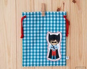 bag of snack of child with superhero - turquoise vichy / superhero lunch baby bag - turquoise vichy