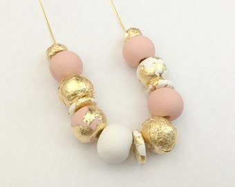 Gold, Pink Beige, White and Gold Leaf Polymer Clay Necklace