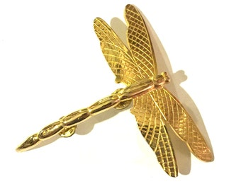 Large gold dragonfly pin