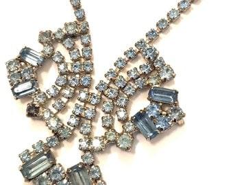 Vintage rhinestone blue necklace