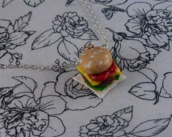 Polymer Clay Burger Necklace