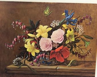 """Vintage Litho Floral Artwork by """"Jena"""""""