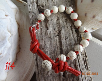 Red leather howlite & serling silver bracelet