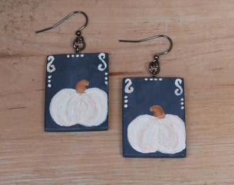 White Earrings, Black Earrings, Pumpkin Earrings, Rustic Jewelry, Fall jewelry, Wooden earrings, White Pumpkin, Wood Pumpkin, Fall Earrings