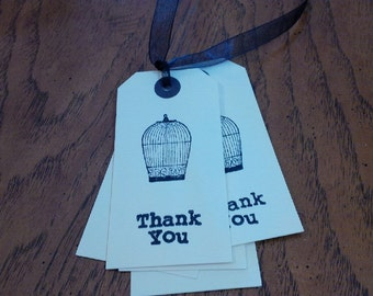 Thank You Bird Cage Gift Tag, Thank You Card, Thank You Gift, Gift Tag, Thanks Card, With Thanks,