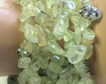 Natural Stone Green Quartz Stretch Bracelet