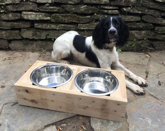 Raised dog bowl stand made from reclaimed pallet timber, Wooden pet feeder with two stainless steel bowls