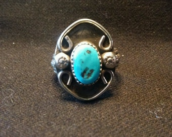 Turquoise Ring, Antique Style Setting