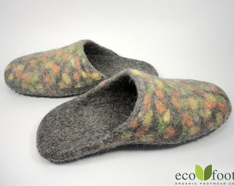 Felted wool slippers Handmade house shoes for women Warm Organic wool slippers ECO felt wool shoes custom large size non-slip soles