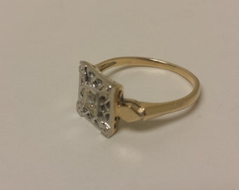 Vintage 14K White/Yellow Gold Ring With Single-Cut Diamond