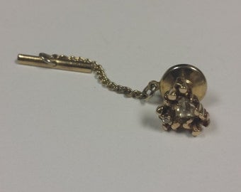 14K Yellow Gold Tie Tack With Diamonds