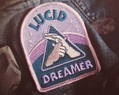 "Lucid Dreaming Patch - Metaphysical Fashion Accessory - 3"" Iron On Embroidered Patch - Dreamy Blue Hazy Pink  for Consciousness Explorers"