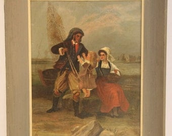 1884 Nautical Oil Painting, Initialed and Dated