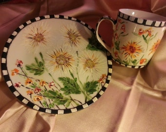 hand painted unique  mug and plate