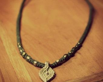 Macramé necklace with brass beads
