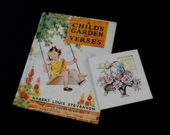 "Vintage 1939 ""A Child's Garden of Verses"" Book by Robert Louis Stevenson The Little Color Classics McLoughlin Bros. Inc. with Vintage Card"