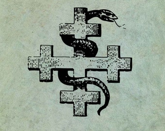 Snake Entwined Around A Crusader Cross - Antique Style Clear Stamp