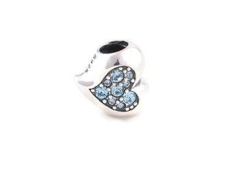 Sparkling Silver Heart Charm - Fits European Charms Bracelet