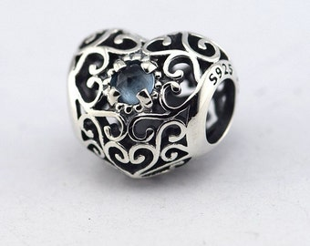 Pandora September Signature Heart Birthstone Charm Synthetic Blue Sapphire 791784SSA