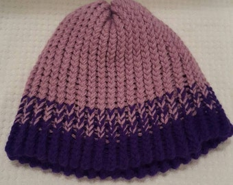 Lavender and Purple Fade Bottom Reversible Knit Hat