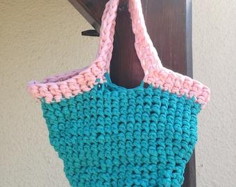 Trapilho handbag blue turquoise and pink