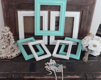 Picture Frame Set of Hand Painted Shabby Chic Frames,  8x10, 5x7, 4x6 Any Color: Black, White, Gray, Red, Yellow, Teal, Blue, Even Rainbow