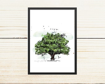 Poster oak / small format / 5 x 7, 8 x 10 in. / Illustration, decoration / Canadian trees / Green