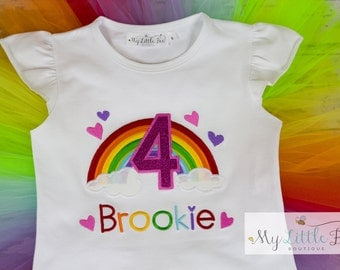 Birthday Girl Rainbow Outfit - Baby Girl Rainbow Birthday Outfit - Rainbow Birthday Shirt- 1st Birthday Outfit-any age
