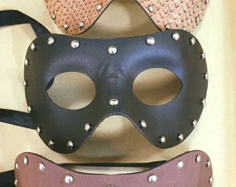 Masquerade Mask in Black Tan Snakeskin or Brown - Music Festival Wear - Photography or Runway Props
