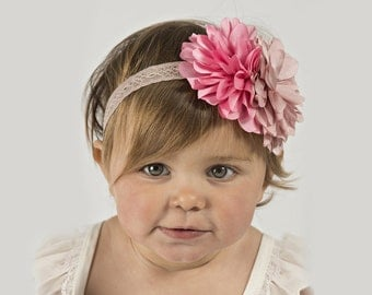 "Pink Flower Baby Headband -- The ""Petite Rosy"" Two Flower Headband"