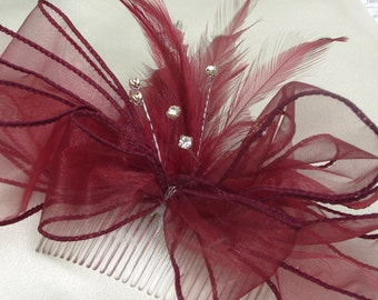 WINE BERRY.  HAIR Corsage/ Combs/  Bands,    Organzer Ribbon,  Feathers, Beads,