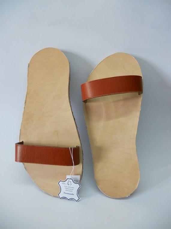 sandale en cuir vachette pour homme. Black Bedroom Furniture Sets. Home Design Ideas