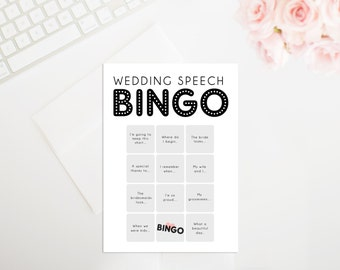 Printable Wedding Speech Bingo Cards, Wedding Bingo, Wedding Game, Wedding Speech Bingo, Wedding Printable
