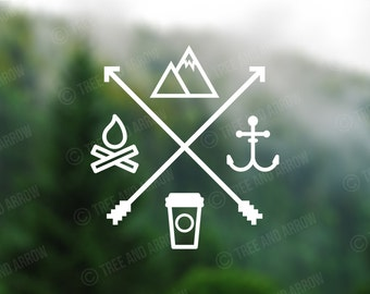 Decal [Mountain, Anchor, Coffee, Fire] Vinyl Decal, Car Window Decal, Laptop Decal, Laptop Sticker, Water Bottle Decal, Phone Decal