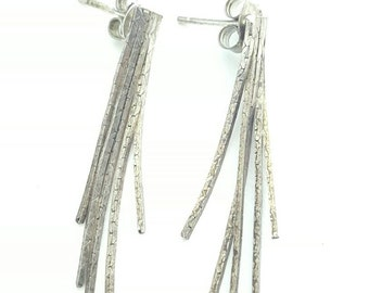 Vintage Sterling Silver Multistrand Articulated Dangle Post Earrings