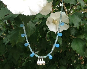 Blue Apatite ~ Blue Chalcedony & Sterling Silver Dew Drop Necklace